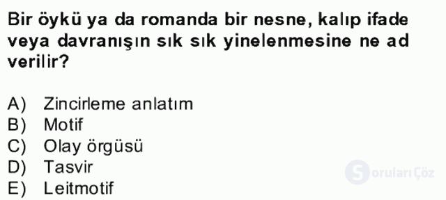Yeni Türk Edebiyatına Giriş II Bahar Dönemi Final 19. Soru