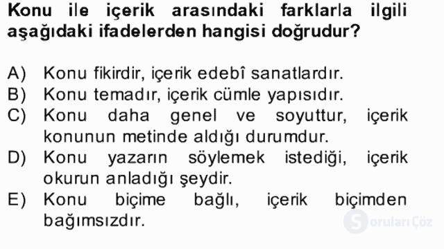 Yeni Türk Edebiyatına Giriş II Bahar Dönemi Final 2. Soru