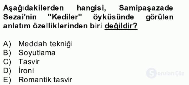Yeni Türk Edebiyatına Giriş II Bahar Dönemi Final 20. Soru