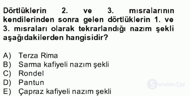Yeni Türk Edebiyatına Giriş II Bahar Dönemi Final 22. Soru