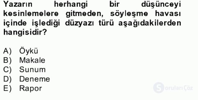 Yeni Türk Edebiyatına Giriş II Bahar Dönemi Final 23. Soru