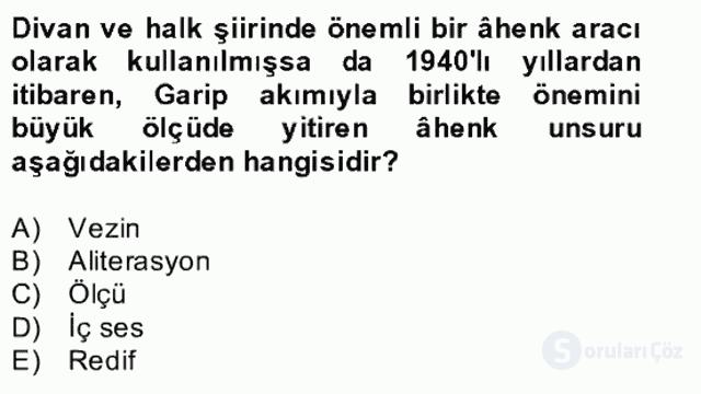 Yeni Türk Edebiyatına Giriş II Bahar Dönemi Final 24. Soru
