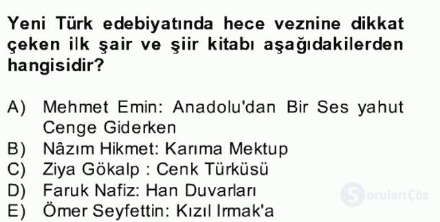 Yeni Türk Edebiyatına Giriş II Bahar Dönemi Final 25. Soru