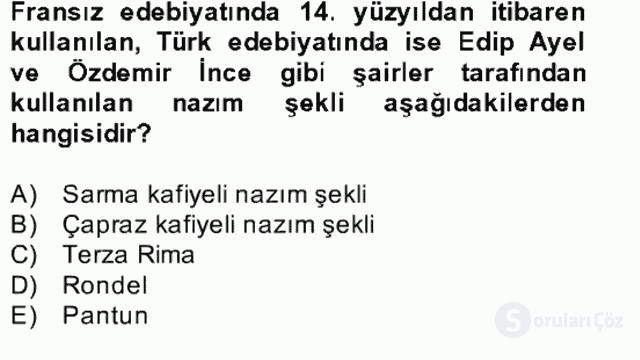 Yeni Türk Edebiyatına Giriş II Bahar Dönemi Final 26. Soru