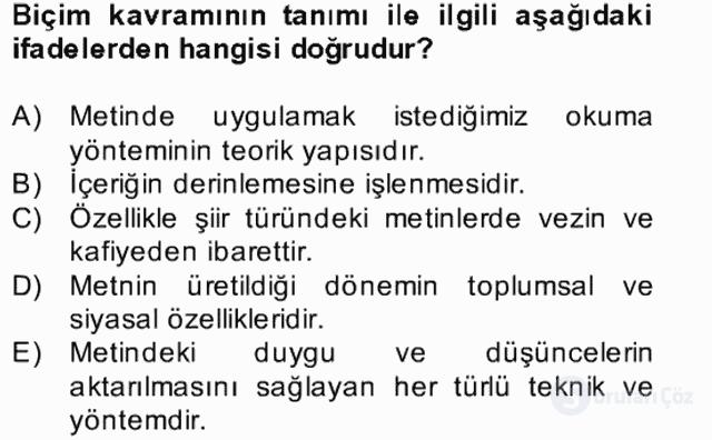 Yeni Türk Edebiyatına Giriş II Bahar Dönemi Final 3. Soru