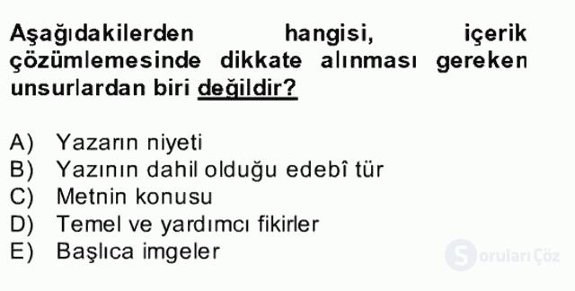 Yeni Türk Edebiyatına Giriş II Bahar Dönemi Final 4. Soru