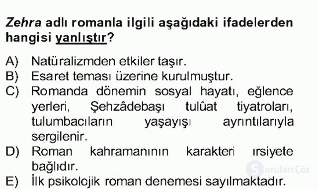 Tanzimat Dönemi Türk Edebiyatı II Bahar Dönemi Final 1. Soru