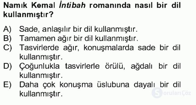 Tanzimat Dönemi Türk Edebiyatı II Bahar Dönemi Final 12. Soru