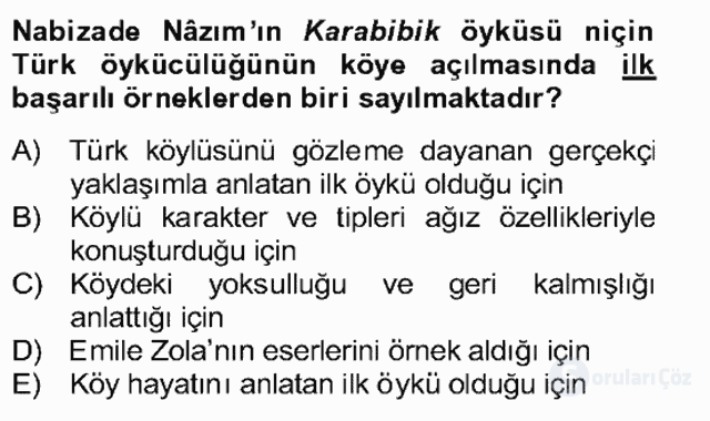 Tanzimat Dönemi Türk Edebiyatı II Bahar Dönemi Final 13. Soru