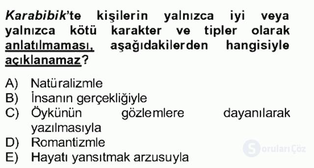 Tanzimat Dönemi Türk Edebiyatı II Bahar Dönemi Final 14. Soru