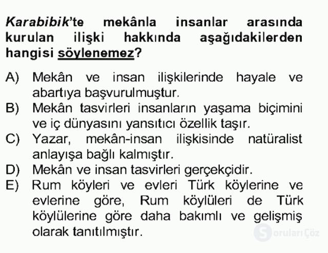 Tanzimat Dönemi Türk Edebiyatı II Bahar Dönemi Final 15. Soru