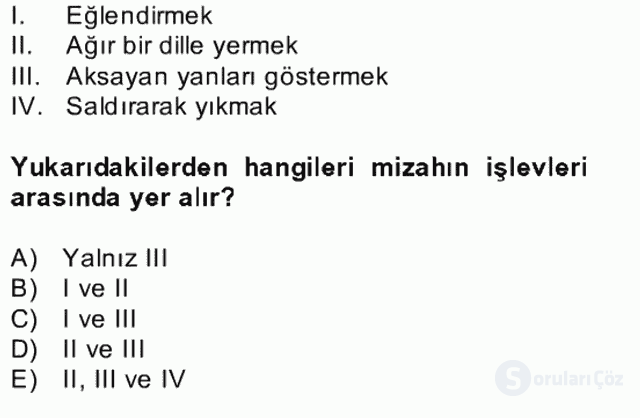 Tanzimat Dönemi Türk Edebiyatı II Bahar Dönemi Final 16. Soru