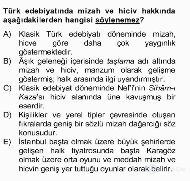 Tanzimat Dönemi Türk Edebiyatı II Bahar Dönemi Final 17. Soru