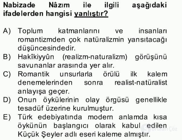 Tanzimat Dönemi Türk Edebiyatı II Bahar Dönemi Final 2. Soru