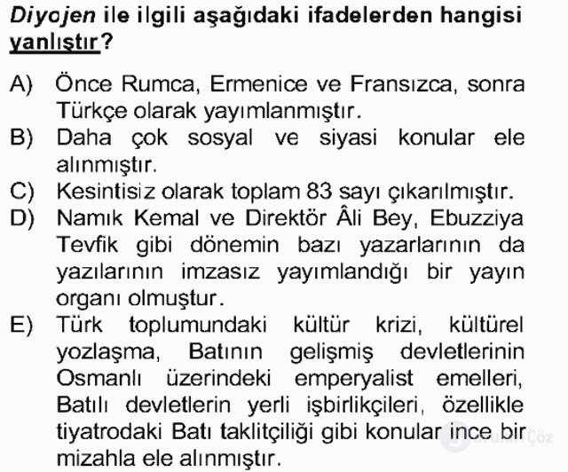 Tanzimat Dönemi Türk Edebiyatı II Bahar Dönemi Final 23. Soru