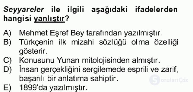 Tanzimat Dönemi Türk Edebiyatı II Bahar Dönemi Final 26. Soru