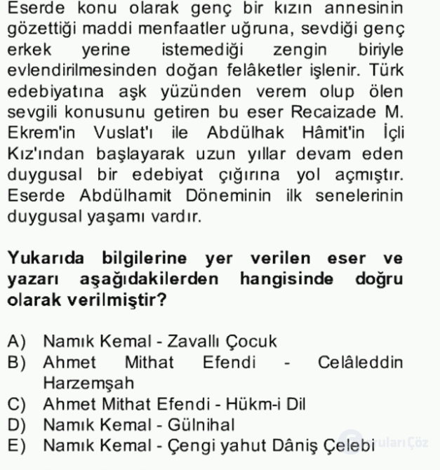 Tanzimat Dönemi Türk Edebiyatı II Bahar Dönemi Final 3. Soru