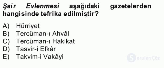 Tanzimat Dönemi Türk Edebiyatı II Bahar Dönemi Final 5. Soru