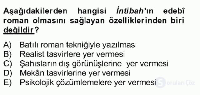 Tanzimat Dönemi Türk Edebiyatı II Bahar Dönemi Final 6. Soru