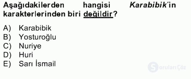 Tanzimat Dönemi Türk Edebiyatı II Bahar Dönemi Final 8. Soru