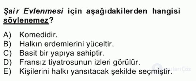Tanzimat Dönemi Türk Edebiyatı II Bahar Dönemi Final 9. Soru