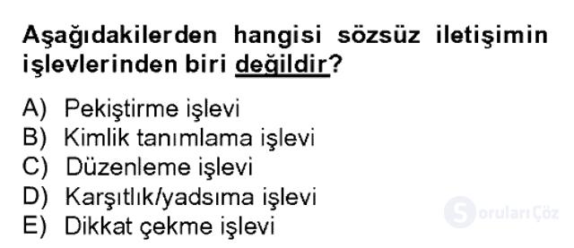 Sözlü ve Sözsüz İletişim Bahar Dönemi Final 16. Soru