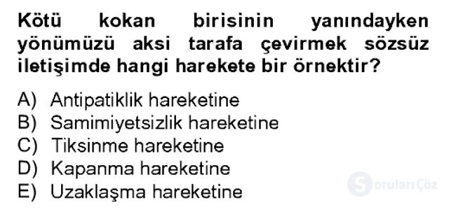 Sözlü ve Sözsüz İletişim Bahar Dönemi Final 17. Soru