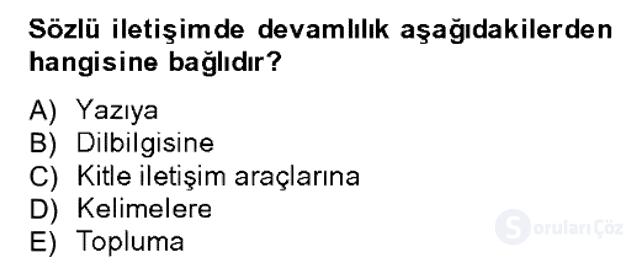 Sözlü ve Sözsüz İletişim Bahar Dönemi Final 2. Soru