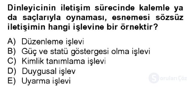 Sözlü ve Sözsüz İletişim Bahar Dönemi Final 9. Soru