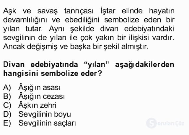 Türk Edebiyatının Mitolojik Kaynakları Bahar Final 12. Soru