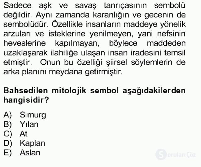 Türk Edebiyatının Mitolojik Kaynakları Bahar Final 15. Soru