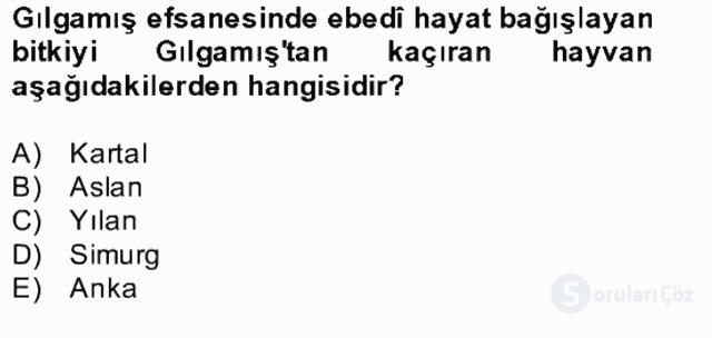Türk Edebiyatının Mitolojik Kaynakları Bahar Final 23. Soru