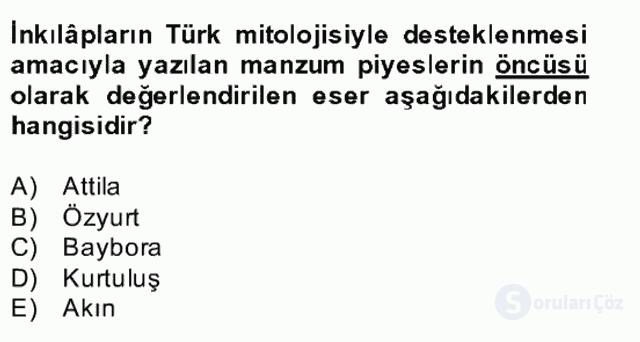Türk Edebiyatının Mitolojik Kaynakları Bahar Final 24. Soru