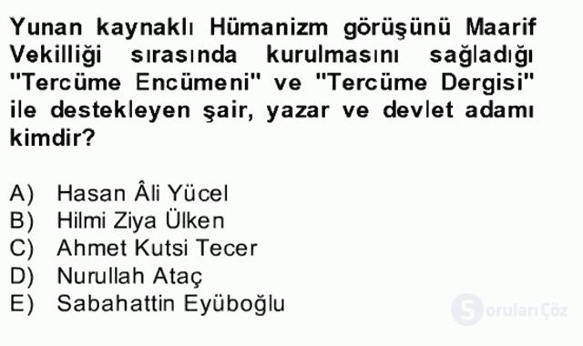 Türk Edebiyatının Mitolojik Kaynakları Bahar Final 25. Soru