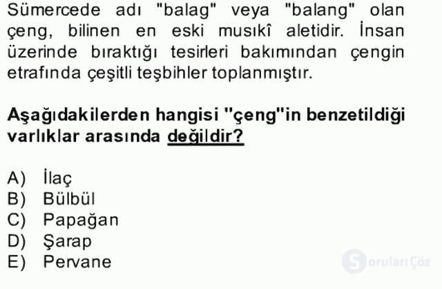 Türk Edebiyatının Mitolojik Kaynakları Bahar Final 26. Soru