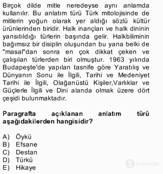 Türk Edebiyatının Mitolojik Kaynakları Bahar Final 5. Soru