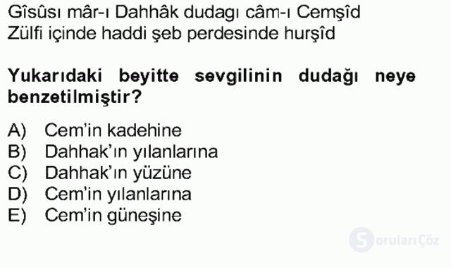 Türk Edebiyatının Mitolojik Kaynakları Bahar Final 7. Soru