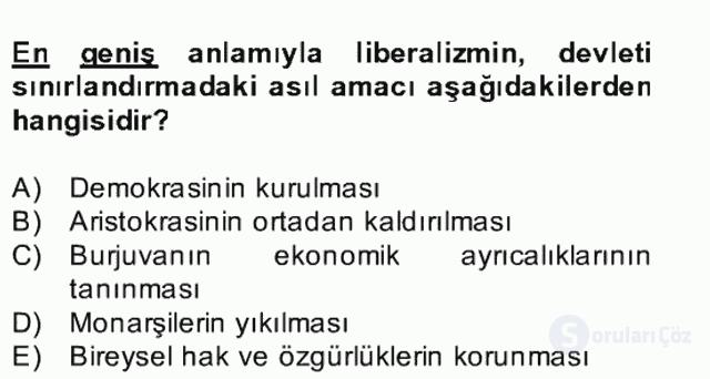 Siyaset Felsefesi II Bahar Final 2. Soru