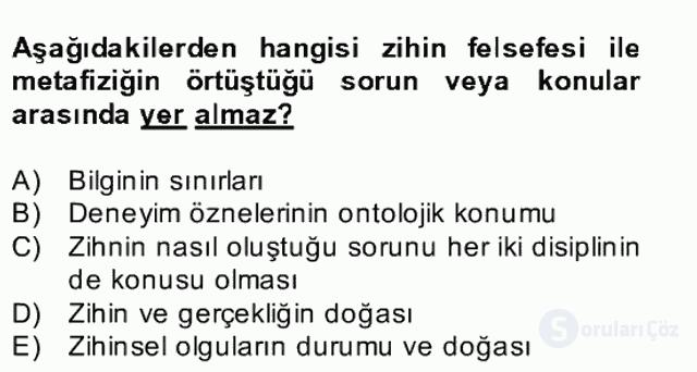 Zihin Felsefesi Bahar Final 1. Soru