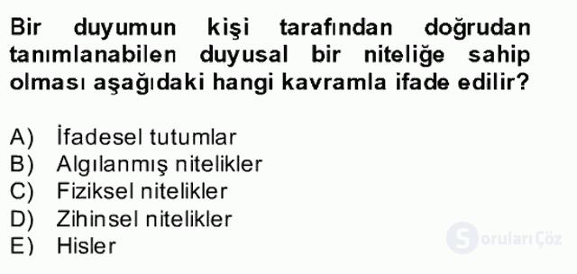 Zihin Felsefesi Bahar Final 13. Soru