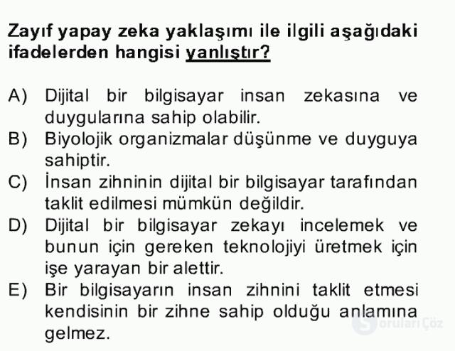 Zihin Felsefesi Bahar Final 16. Soru