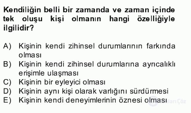 Zihin Felsefesi Bahar Final 28. Soru