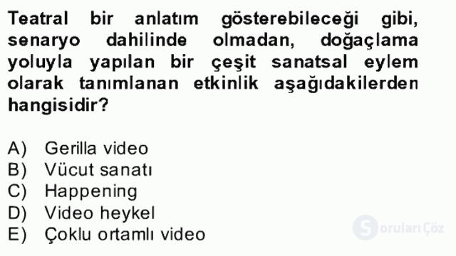 Film ve Video Kültürü Bahar Final 27. Soru