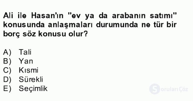 Medeni Hukuk II Bahar Final 11. Soru