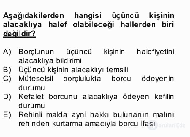 Medeni Hukuk II Bahar Final 13. Soru