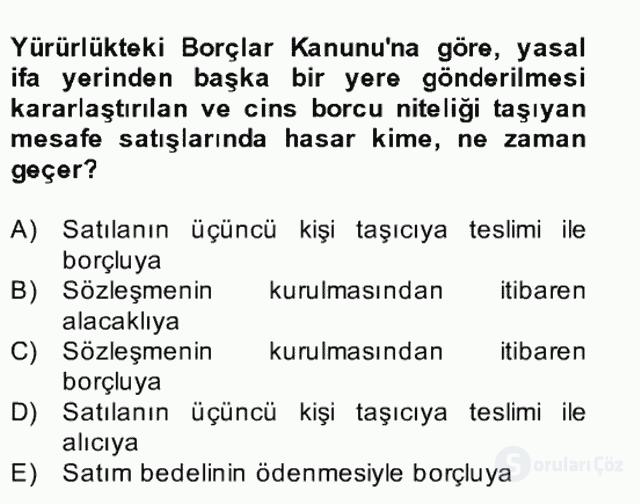 Medeni Hukuk II Bahar Final 19. Soru