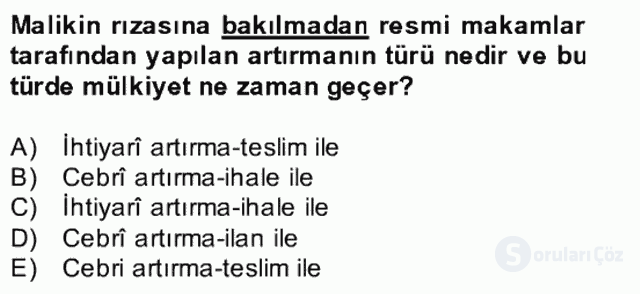 Medeni Hukuk II Bahar Final 20. Soru