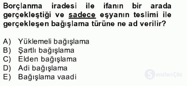 Medeni Hukuk II Bahar Final 22. Soru