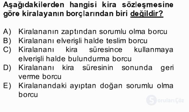 Medeni Hukuk II Bahar Final 23. Soru