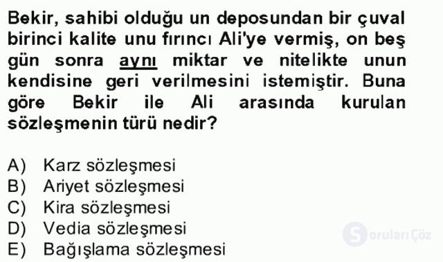 Medeni Hukuk II Bahar Final 25. Soru
